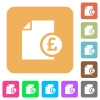 Pound financial report flat icons on rounded square vivid color backgrounds. - Pound financial report rounded square flat icons