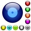 Circular saw color glass buttons - Circular saw icons on round color glass buttons
