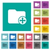 Move directory square flat multi colored icons - Move directory multi colored flat icons on plain square backgrounds. Included white and darker icon variations for hover or active effects.