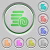 Israeli new Shekel coins push buttons - Israeli new Shekel coins color icons on sunk push buttons