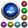 Bitcoin earnings round glossy buttons - Bitcoin earnings icons in round glossy buttons with steel frames