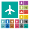 Airplane square flat multi colored icons - Airplane multi colored flat icons on plain square backgrounds. Included white and darker icon variations for hover or active effects.