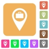 Baggage storage GPS map location rounded square flat icons - Baggage storage GPS map location flat icons on rounded square vivid color backgrounds.