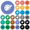 Paint kit round flat multi colored icons - Paint kit multi colored flat icons on round backgrounds. Included white, light and dark icon variations for hover and active status effects, and bonus shades on black backgounds.