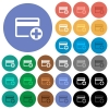 Add new credit card round flat multi colored icons - Add new credit card multi colored flat icons on round backgrounds. Included white, light and dark icon variations for hover and active status effects, and bonus shades on black backgounds.