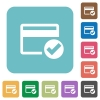 Credit card verified rounded square flat icons - Credit card verified white flat icons on color rounded square backgrounds
