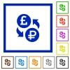 Pound Ruble money exchange flat framed icons - Pound Ruble money exchange flat color icons in square frames on white background