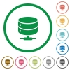 Network database flat icons with outlines - Network database flat color icons in round outlines on white background