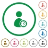 User account time flat icons with outlines - User account time flat color icons in round outlines on white background