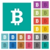 Bitcoin sign square flat multi colored icons - Bitcoin sign multi colored flat icons on plain square backgrounds. Included white and darker icon variations for hover or active effects.