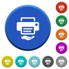 Shared printer beveled buttons - Shared printer round color beveled buttons with smooth surfaces and flat white icons