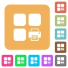 Print component rounded square flat icons - Print component flat icons on rounded square vivid color backgrounds.