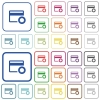 Credit card certified service provider outlined flat color icons - Credit card certified service provider color flat icons in rounded square frames. Thin and thick versions included.