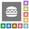 Single hamburger square flat icons - Single hamburger flat icons on simple color square backgrounds