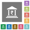Indian Rupee bank office square flat icons - Indian Rupee bank office flat icons on simple color square backgrounds