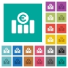 Euro financial graph square flat multi colored icons - Euro financial graph multi colored flat icons on plain square backgrounds. Included white and darker icon variations for hover or active effects.