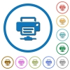 Network printer icons with shadows and outlines - Network printer flat color vector icons with shadows in round outlines on white background