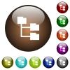 Folder structure color glass buttons - Folder structure white icons on round color glass buttons