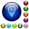Workshop service GPS map location color glass buttons - Workshop service GPS map location icons on round color glass buttons