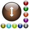 Resize vertical color glass buttons - Resize vertical white icons on round color glass buttons