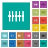 Graphical equalizer square flat multi colored icons - Graphical equalizer multi colored flat icons on plain square backgrounds. Included white and darker icon variations for hover or active effects.