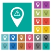 GPS map location warning square flat multi colored icons - GPS map location warning multi colored flat icons on plain square backgrounds. Included white and darker icon variations for hover or active effects.