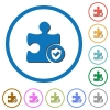 Plugin protected icons with shadows and outlines - Plugin protected flat color vector icons with shadows in round outlines on white background