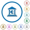 Euro bank office icons with shadows and outlines - Euro bank office flat color vector icons with shadows in round outlines on white background