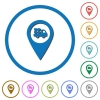 Transport service GPS map location icons with shadows and outlines - Transport service GPS map location flat color vector icons with shadows in round outlines on white background