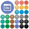 Lock application round flat multi colored icons - Lock application multi colored flat icons on round backgrounds. Included white, light and dark icon variations for hover and active status effects, and bonus shades on black backgounds.