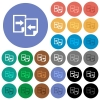 Share documents round flat multi colored icons - Share documents multi colored flat icons on round backgrounds. Included white, light and dark icon variations for hover and active status effects, and bonus shades on black backgounds.