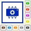 Hardware settings flat framed icons - Hardware settings flat color icons in square frames on white background