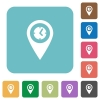 Arrival time GPS map location rounded square flat icons - Arrival time GPS map location white flat icons on color rounded square backgrounds