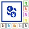 Pound Yen money exchange flat framed icons - Pound Yen money exchange flat color icons in square frames on white background