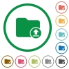 Upload directory flat icons with outlines - Upload directory flat color icons in round outlines on white background