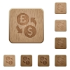 Pound Dollar money exchange wooden buttons - Pound Dollar money exchange on rounded square carved wooden button styles