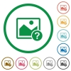 Unknown image flat icons with outlines - Unknown image flat color icons in round outlines on white background