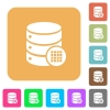 Database table cells rounded square flat icons - Database table cells flat icons on rounded square vivid color backgrounds.