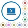 Laptop with yen sign icons with shadows and outlines - Laptop with yen sign flat color vector icons with shadows in round outlines on white background
