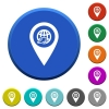 International route GPS map location beveled buttons - International route GPS map location round color beveled buttons with smooth surfaces and flat white icons
