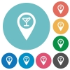 Cocktail bar GPS map location flat round icons - Cocktail bar GPS map location flat white icons on round color backgrounds