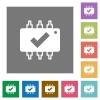 Hardware checked square flat icons - Hardware checked flat icons on simple color square backgrounds