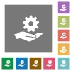 Maintenance service square flat icons - Maintenance service flat icons on simple color square backgrounds
