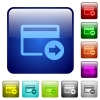 Send money with credit card color square buttons - Send money with credit card icons in rounded square color glossy button set