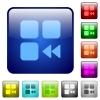 Component fast backward color square buttons - Component fast backward icons in rounded square color glossy button set