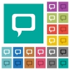 Comment square flat multi colored icons - Comment multi colored flat icons on plain square backgrounds. Included white and darker icon variations for hover or active effects.