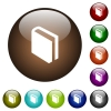Single book color glass buttons - Single book white icons on round color glass buttons