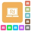 Laptop with new Shekel sign rounded square flat icons - Laptop with new Shekel sign flat icons on rounded square vivid color backgrounds.