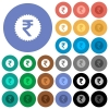 Indian Rupee sticker round flat multi colored icons - Indian Rupee sticker multi colored flat icons on round backgrounds. Included white, light and dark icon variations for hover and active status effects, and bonus shades on black backgounds.