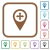 Move GPS map location simple icons - Move GPS map location simple icons in color rounded square frames on white background